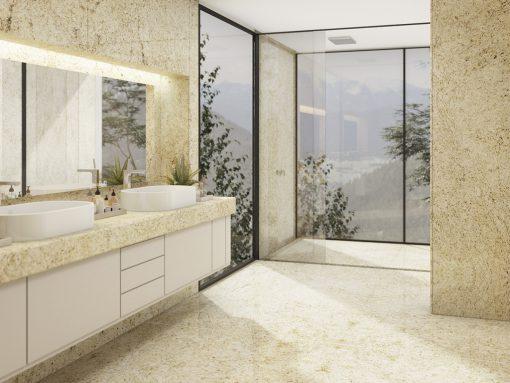 Banheiro com Granito Giallo Ornamental - Brasigran Granitos