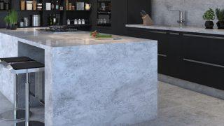 Projeto residencial com bancada em mármore branco Botero e piso em granito Niagara Falls.